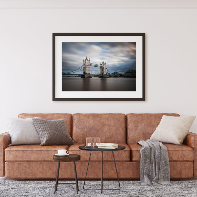"This is a mockup of Ben Orloff's ""Bascule 86"" photography print set in a living room scene."