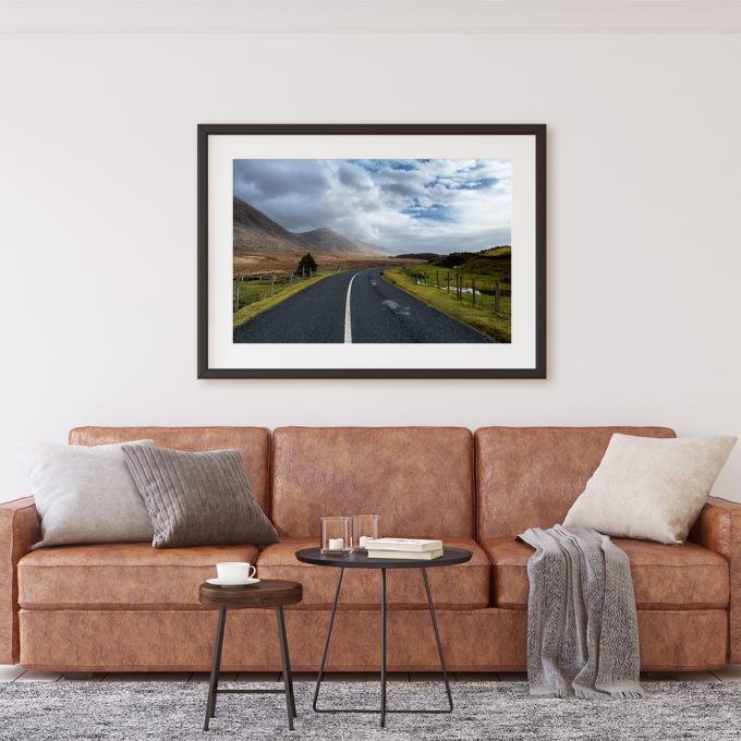 "This is a mockup of Ben Orloff's ""The Call of Connemara"" photography print set in a living room scene."