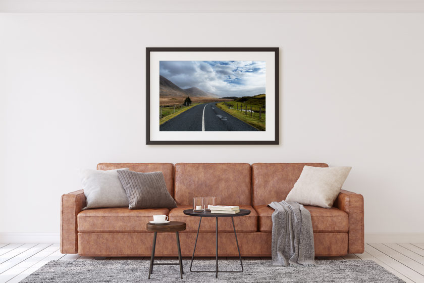 """This is a mockup of Ben Orloff's """"The Call of Connemara"""" photography print set in a living room scene."""