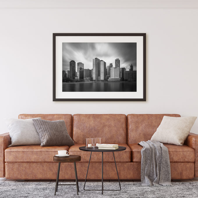"This is a mockup of Ben Orloff's ""Windy City"" photography print set in a living room scene."
