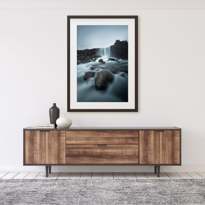 "This is a mockup of Ben Orloff's ""A Drink for Parliament"" photography print set in a home's interior."