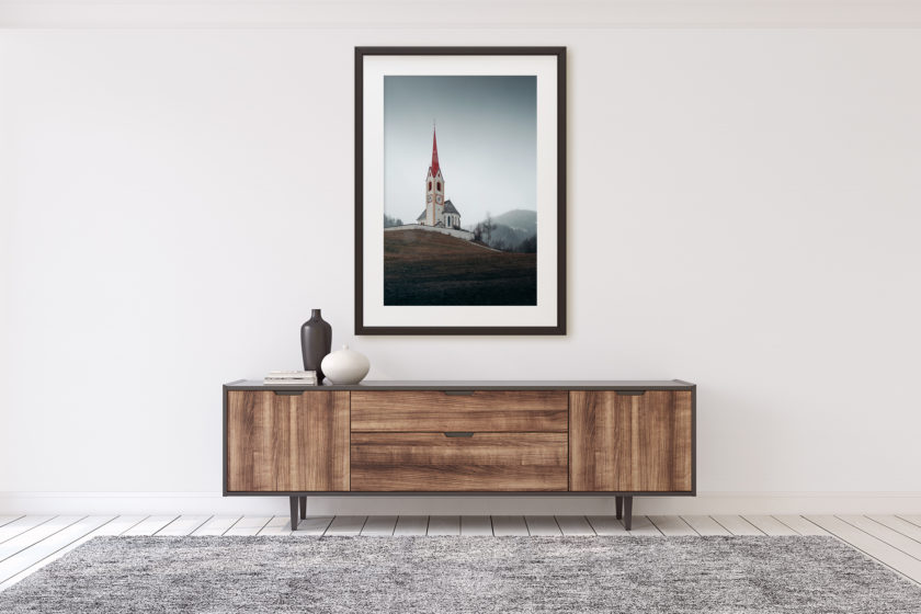 "This is a mockup of Ben Orloff's ""Armonioso"" photography print set in a home's interior."