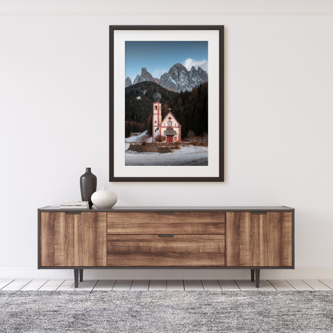 "This is a mockup of Ben Orloff's ""Chiesetta"" photography print set in a home's interior."