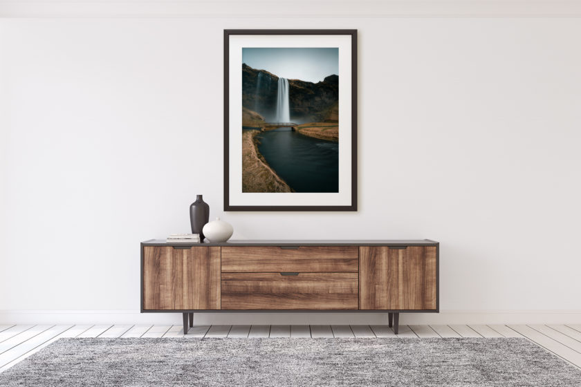 "This is a mockup of Ben Orloff's ""Coalescence"" photography print set in a home's interior."