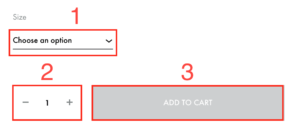 Instructional image to show the steps of adding a print to the cart for purchase.