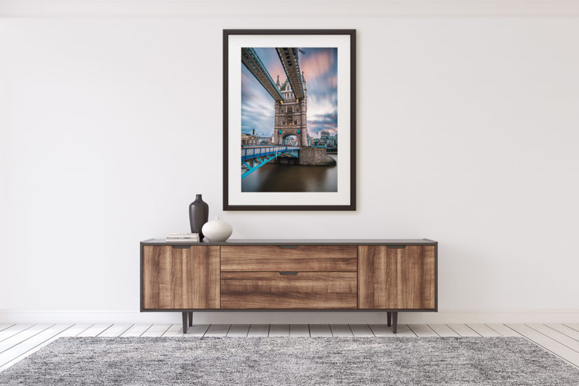 "This is a mockup of Ben Orloff's ""Tower Bridge"" photography print set in a home's interior."