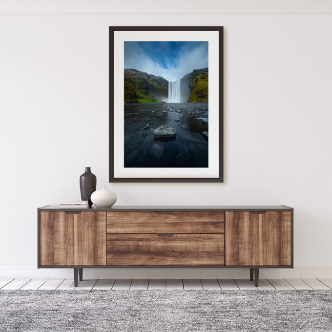 "Mockup of ""Transient IX"" photography print by Ben Orloff on interior wall"